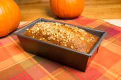 Pan of pumpkin bread fresh from the oven Stock Photo
