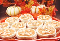 Pan of pumpkin cookies; royalty free stock photography