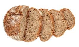 Pan rebanado aislado en el fondo blanco El pan fresco cutted rebanadas se cierra para arriba Panadería, concepto de la comida Vis fotografía de archivo