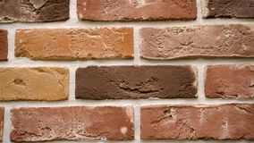 Pan red decorative brick your home. Brickwork background. Unique drawing block. Clear place for your isolated text pattern. Empty space for your title copy stock footage