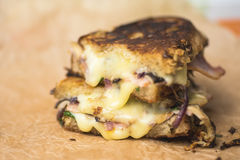 Pan roasted melting cheese sandwich Royalty Free Stock Image