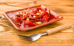 Pan roasted peppers and fried skinless Stock Photography
