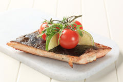 Pan roasted salmon trout fillet Stock Photos