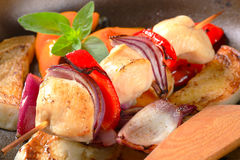 Pan roasted vegetables and chicken skewer Royalty Free Stock Photos
