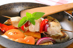 Pan roasted vegetables and chicken skewer Stock Photography