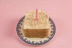 Pan rosado del cumpleaños Fotografía de archivo