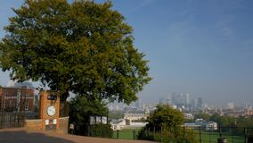 Pan from Royal Observatory to Greenwich stock video footage