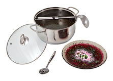 Pan with Russian cold beetroot borscht and bowl of soup. Stock Images