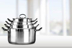 Pan. Sauce Kitchen Utensil Steel Set Stainless Steel stock photo