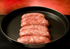 Pan With Sausages Royalty Free Stock Image