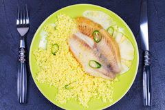 Pan sauteed fish on pineapple planks with couscous. View from above, top studio shot. royalty free stock image