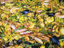 Pan Of Seafood Paella Royaltyfri Foto