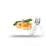 Pan Seared Scallops And Asparagus II Arkivfoto