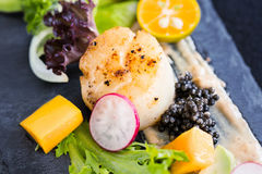 Pan seared scallops with salad, avocado, radish, mango and black Stock Images