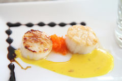 Pan seared sea scallops Stock Image