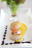 Pan seared sea scallops Royalty Free Stock Photos