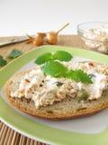 Pan separado con el atún y el queso cremoso Imagen de archivo libre de regalías