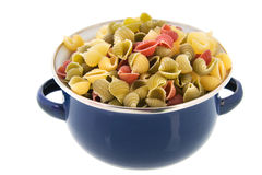 Pan with shells pasta Stock Images
