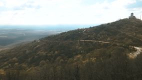 Pan shoot panorama from the hills. Cold winter day with the sun stock video footage