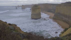 Pan of the shore along the Great Ocean Road. Australia stock video footage