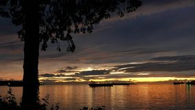 Pan shot of beautiful sunset view at Stanley Park. In Vancouver BC Canada stock video