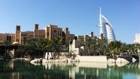 Pan shot of the Burj Al Arab Hotel in Dubai, United Arab Emirates stock video