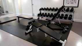 Pan shot of empty gym stock video footage