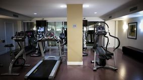 Pan shot of empty gym stock footage