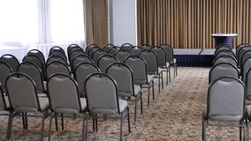 Pan shot of empty hotel meeting room in Burnaby BC Canada. With 4k resolution stock footage