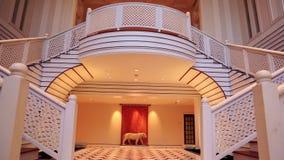 Pan shot of interior view of Hotel Amar Villas, Agra, Uttar Pradesh, India stock footage