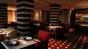 Pan shot of luxurious dining room of Hotel Amar Villas, Agra, Uttar Pradesh, India stock video footage
