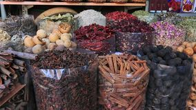 Pan shot of spice market in Dubai, United Arab Emirates stock video footage