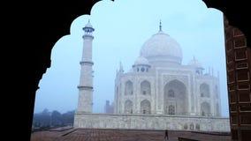 Pan shot of the Taj Mahal, Agra, Uttar Pradesh, India stock footage
