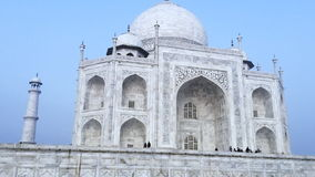 Pan shot of the Taj Mahal, Agra, Uttar Pradesh, India stock video footage