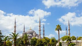 Pan shot timelapse of The Blue Mosque or Sultanahmet outdoors in Istanbul city in Turkey. Pan shot timelapse of The Blue Mosque or Sultanahmet outdoors with stock video