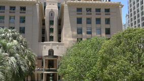 Pan from the Shrine of Remembrance, ANZAC square, brisbane stock video footage
