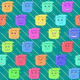 Pan Smilies, Seamless. Seamless Background with Funny Smilies Boiling Pans Symbolising Various Human Emotions. Vector Royalty Free Stock Images