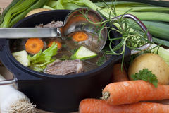 Pan Soup with beef and ingredient Royalty Free Stock Photos