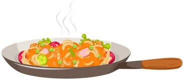Pan of spaghetti. Illustration of isolated pan of spaghetti on white Stock Photos