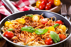 Pan with spaghetti  bolognese Royalty Free Stock Image