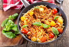 Pan with spaghetti  bolognese Royalty Free Stock Photos