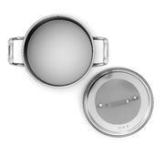 Pan from stainless steel front view Stock Photo