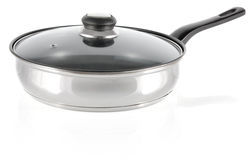 Pan of stainless steel with glass cover Stock Photography