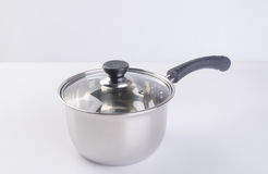 pan or stainless steel pan on background. Stock Photography
