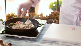 Pan with steak. stock video