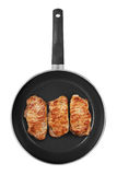 Pan with Steaks Royalty Free Stock Photos