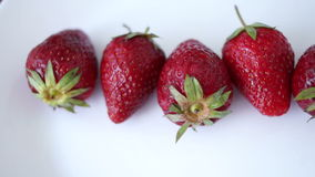 Pan Strawberries Isolated On White Background. Pan Appetizing Strawberries Isolated On White Background stock video