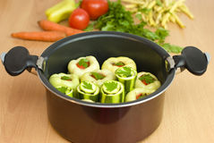 Pan with stuffed peppers and zucchini Royalty Free Stock Image