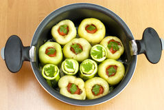 Pan with stuffed peppers and zucchini Royalty Free Stock Photo