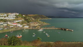 Pan of Sunlit Mevagissey Harbour stock video footage